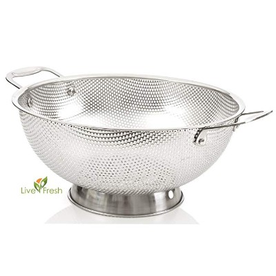 LiveFresh Stainless Steel Micro-perforated 5-Quart Colander Professional Strainer