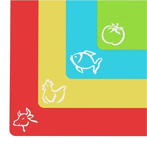 Extra Thick Flexible Plastic Cutting Board Mats With Food Icons