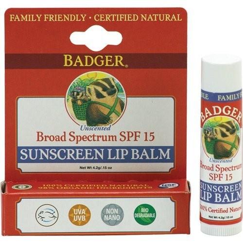 Badger Sunscreen Lip Balm, SPF 15