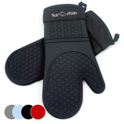 Black Silicone Oven-Mitts Long Professional Heat-Resistant Mitts